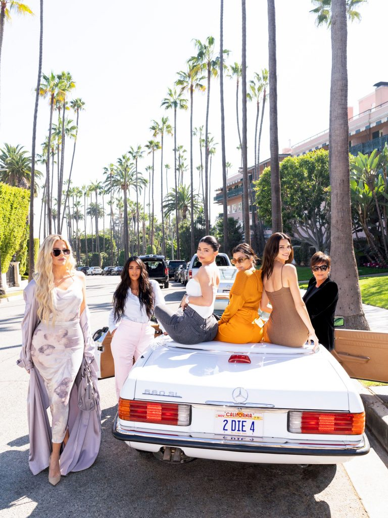Kris Jenner on her birthday with her daughters, Khloe, Kim, Kylie, Kourtney, and Kendall